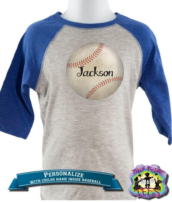 Items similar to personalized raglan baseball tee boys for Custom baseball tee shirts
