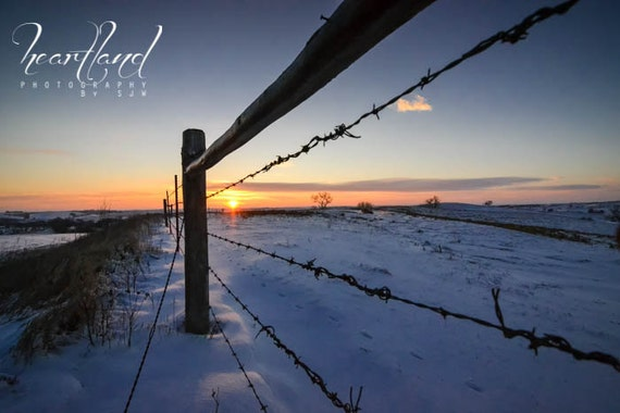 Metal Print, Ten Year Anniversary, Aluminum Photo, Iowa Landscape, Sunrise Photography, Barbed Wire, Unique Gifts, Bright Colors, Wall Art