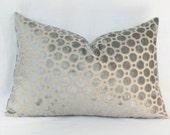 """Gray velvet pillow. 12"""" x 20"""". 13"""" x 20"""". Robert Allen Geo lumbar pillow."""