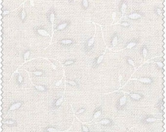 Folio - White on White Leaves by Henry Glass (7755-01) Cotton Fabric Fat Quarter