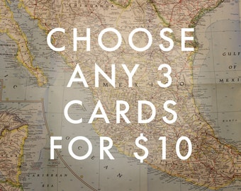 Choose Any 3 Cards Map - Travel Cards / Handmade Cards / Set of Cards / Mix & Match Set