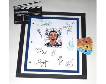 American Psycho Movie Screenplay Script Autographed Christian Bale, Willem Dafeo, Reese Witherspoon, Jared Leto, Josh Lucas, Justin Theroux