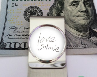 Handwriting money clip, Your child's handwriting on a money clip, Loved one's handwriting money clip, kid's hand print