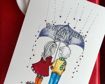 Umbrella Ella Romantic Card