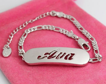 "Name Bracelet AVA - White Gold Plated 18K Personalised Bracelet. 10"" Figaro Chain with Gift Box and Gift Bag."