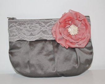 Bridesmaid Clutch - Silk Taffeta Clutch Purse - Custom Colours Available