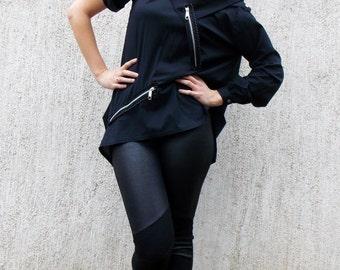 Teyxo Black Cotton Shirt /  Oversize Avant Garde Top TT42