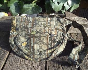 Khaki floral corduroy fanny pack,hip bag