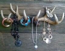 REDUCED Deer Antler Jewelry Holder / Scarf Rack / Faux Deer Antlers / Wall Mounted Antler Hooks