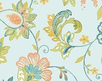 1/2 yard Aria Floral Blue by Benartex