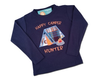 Boy's Happy Camper Shirt with Embroidered Name - M31