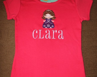 Little Sophie Princess Birthday Shirt with Embroidered Name