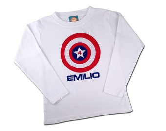 Superhero Shield Birthday Shirt with American Shield and Embroidered Name