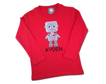 Boy's Valentine Robot Shirt with Embroidered Name