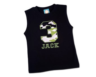 Boy's Camo Birthday Shirt with Number and Embroidered Name