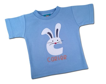 Boy's Easter Shirt - Easter Bunny Initial with Embroidered Name - Lt. Blue