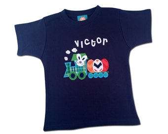 Boy's Easter Shirt with Easter Bunny Train with Eggs and Embroidered Name