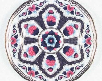 Royal Worcester Imari Star salad or dessert plate in royal blue and rust.