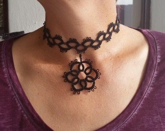Black lace hand tatted choker necklace with pendant element