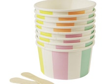 Toot Sweet Ice Cream Cups & Wooden Spoons, Pastel Stripe Candy Cup, Meri Meri Silly Circus