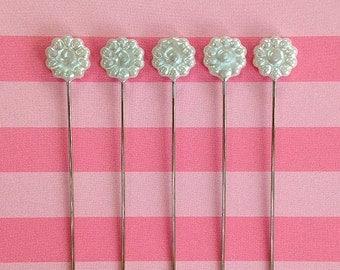 12 Stick Pins - White Flower Pins - Pearlized Corsage Pins - Sewing Pins - Floral Stickpins Wedding
