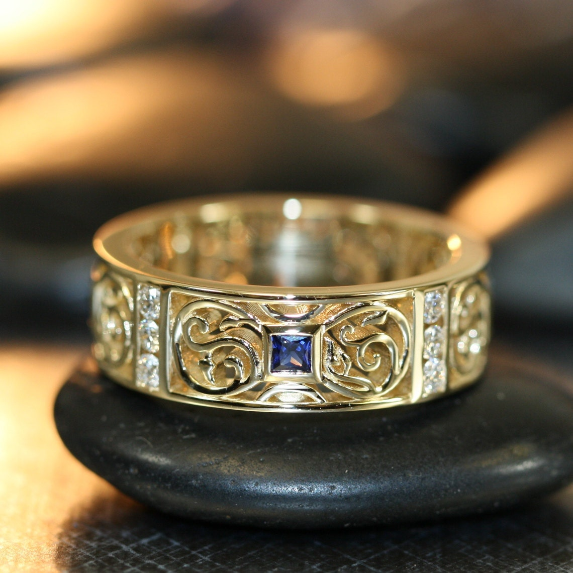 Celtic Knot Wedding Band In 14k Yellow Gold Princess Cut