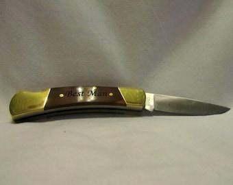 Custom Engraved Pocket Knife - Wood Handle Lockback