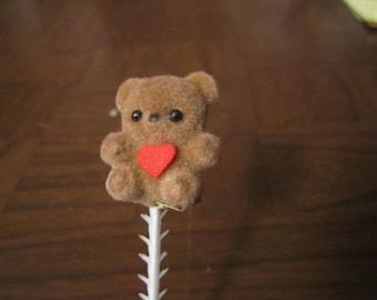 DESTASH ///  SWEATHEARTS ///  Vintage  Six flocked brown Bears on plastic pics, with red heart 3/2