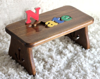 Fine woodworking for home baby special occasions by craftcarve personalized hardwood puzzle stool anchor design christmas baby gift mariner first birthday negle Image collections