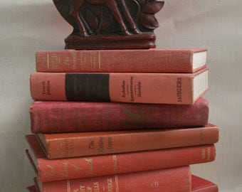 Vintage Lot Books Faded Red Terracotta Decorative Titles Wedding Decorator Books Holidays