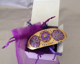 Gourd Barrette:  Czech Glass Purple Morning Glory
