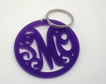 Purple Acrylic Monogram Keychain