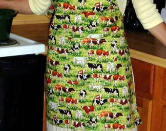 cows and country apron, grilling, plus size apron, full apron, unisex apron, long apron, two pockets, adjustable straps, one size fits most