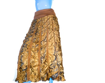 Vintage 90s Long Crunchy Skirt, Brown Maxi Skirt, Zashi New Old Stock