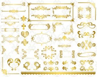 Instant Download Digital Gold Flourish Swirl Frame Border Clip Art Vintage Golden Swirl Frame ClipArt Scrapbooking Wedding Invitation 0193