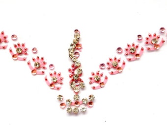 Bridal Bindi Forehead Body Adornments All Pink White Crystals Embellishments