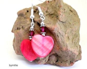 Shell heart earrings , Pink heart earrings , Pink crystal and shell earrings , Pink shell earrings , Heart earrings , Pink dangle earrings