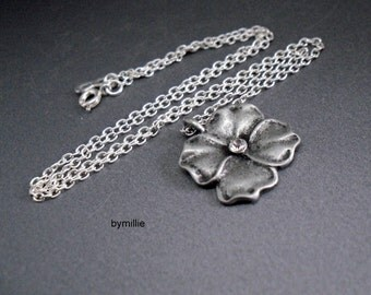 Antique silver and crystal flower pendant necklace, Silver flower pendant, Antique silver necklace, Flower pendant necklace, Crystal flower