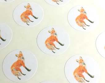 """1"""" Round - 12 White Envelope Seals/Stickers - Red Fox for Wedding Envelope Invitations Decoration, or Wedding Favor, or Planner or Scrapbook"""