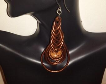 Hot Chocolate.  Herringbone  Knotted Leather Earrings