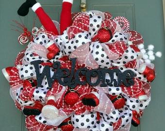 Santa Legs Wreath, Whimsical Christmas Wreath, Welcome Wreath, Winter Wreath