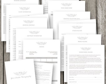 Photographer Forms & Contracts Set - Photography Business Forms - Portrait Photography Contract Template Set - Wedding Contract - PF07