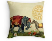 Animal Pillow, Elephant Decor, Elephant Pillow, Whimsical Cushion, Zebra, Elephant Cushion, Whimsical Decor, Circus Decor, Valentines Gift