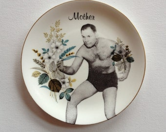 mama's boy 1 - altered vintage plate