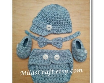 Mix and Match! Crochet Baby Boy Set - Hat, Diaper Cover,Booties,Bow Tie, Baby Shower Gift, Newborn Boy Coming home outfit, Photo Prop