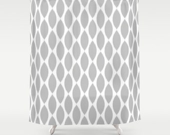 Shower Curtain - Gray Shower Curtain - Ikat Petals - Girls Bathroom Decor - Teen Bathroom - Dorm Shower Curtain - Teen Shower Curtain - Grey