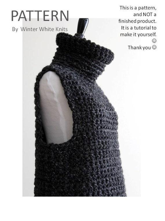 Cowl Vest Knitting Pattern Free : Crochet sweater pattern cowl vest PDF Instant by WinterWhiteKnits