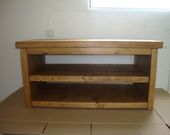 Chunky rustic reclaimed timber TV unit All wax