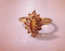 Vintage Gold 18KT HGE CCA  Ring with Cat's Eye Stone