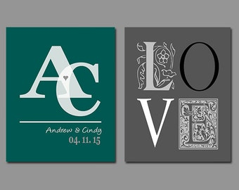 First Anniversary Gift, Newlyweds, Husband, Wife, New Home, Personalize With Your Own Names and Dates in Any Color Set of Two Prints